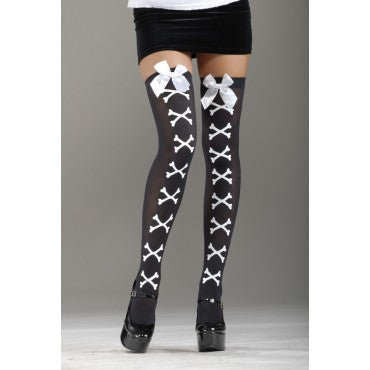 Crossbones Thigh Highs - Various Colors - HalloweenCostumes4U.com - Accessories - 3