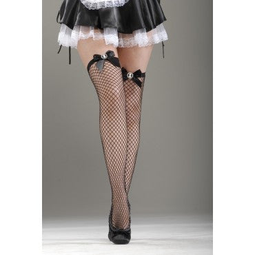 French Maid Cameo Fishnet Thigh Highs - HalloweenCostumes4U.com - Accessories
