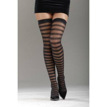 Sheer/Opaque Horizontal Stripe Thigh Highs - HalloweenCostumes4U.com - Accessories