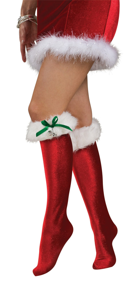 Womens Santa Knee High Socks - HalloweenCostumes4U.com - Accessories
