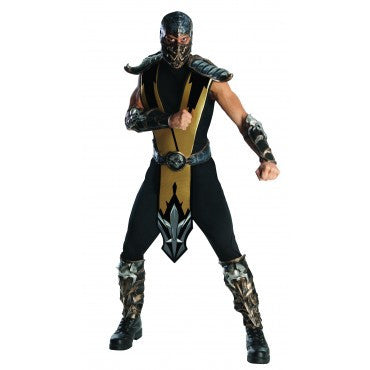 Mens Mortal Kombat Deluxe Scorpion Costume - HalloweenCostumes4U.com - Adult Costumes