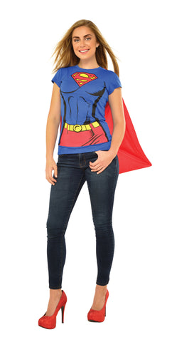 Womens Supergirl T-Shirt and Cape Set - HalloweenCostumes4U.com - Adult Costumes - 1