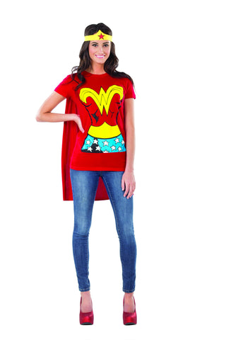 Womens Wonder Woman T-Shirt Set - HalloweenCostumes4U.com - Adult Costumes