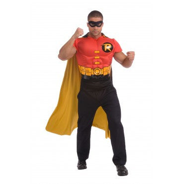 Mens Justice League Robin Muscle Chest Shirt - HalloweenCostumes4U.com - Adult Costumes