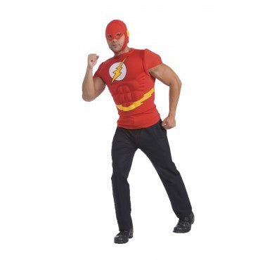 Mens Justice League the Flash Muscle Chest Shirt - HalloweenCostumes4U.com - Adult Costumes