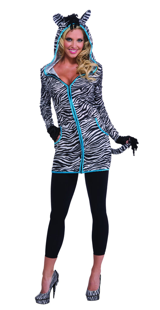 Womens Zebra Hoodie Dress - HalloweenCostumes4U.com - Adult Costumes