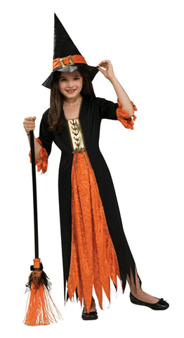 Girls Pumpkin Witch Costume - HalloweenCostumes4U.com - Kids Costumes