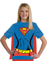 Girls Super-Girl T-Shirt Set - HalloweenCostumes4U.com - Kids Costumes