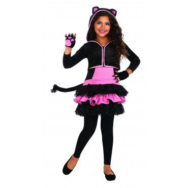 Girls Black Kitty Hoodie Costume