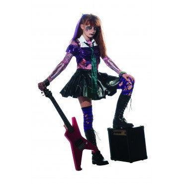 Halloween Rockstar.Girls Zombie Rock Star Costume