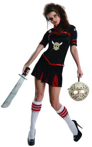 Womens/Teens Jason Voorhees Cheerleader Corset Costume - HalloweenCostumes4U.com - Adult Costumes