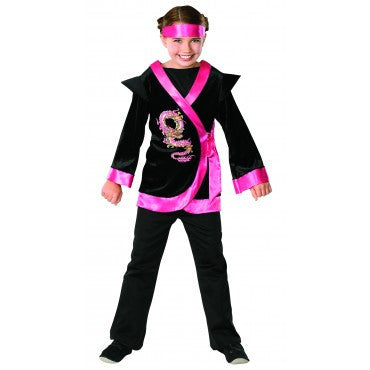 Girls Pink Dragon Ninja Costume - HalloweenCostumes4U.com - Kids Costumes