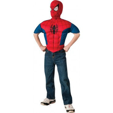 Boys Spider-Man Muscle Chest Shirt and Mask - HalloweenCostumes4U.com - Kids Costumes