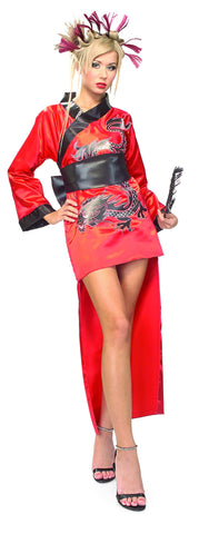 Womens Red Dragon Lady Costume - HalloweenCostumes4U.com - Adult Costumes
