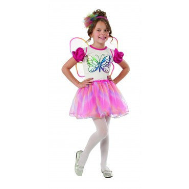 Girls Pink and White Butterfly Costume - HalloweenCostumes4U.com - Kids Costumes