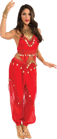 Womens Red Belly Dancer Costume - HalloweenCostumes4U.com - Adult Costumes