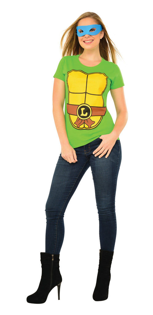 Womens Ninja Turtles Leonardo Shirt & Mask - HalloweenCostumes4U.com - Adult Costumes