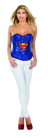 Womens Supergirl Sequin Corset - HalloweenCostumes4U.com - Adult Costumes