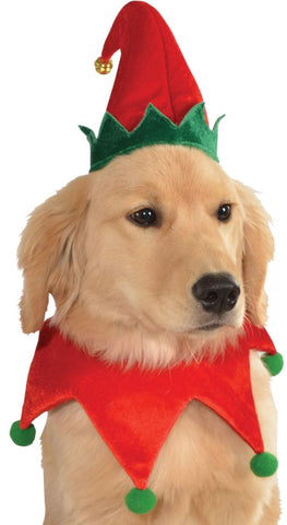 Pets Elf Hat w/ Bell and Collar