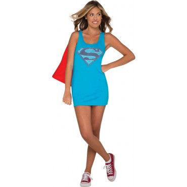Teens Supergirl Tank Dress with Rhinestones - HalloweenCostumes4U.com - Adult Costumes