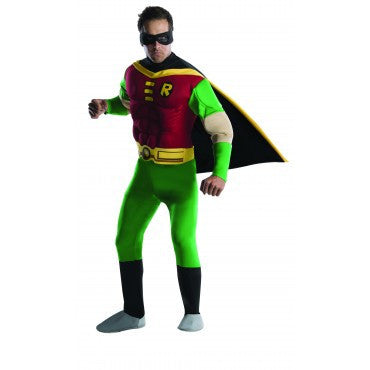 Mens Teen Titans Deluxe Muscle Chest Robin Costume - HalloweenCostumes4U.com - Adult Costumes