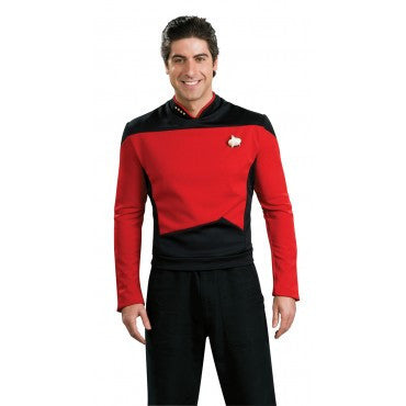 Mens Star Trek Deluxe Red Shirt Command Uniform - HalloweenCostumes4U.com - Adult Costumes