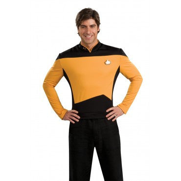 Mens Star Trek Deluxe Gold Shirt Command Uniform - HalloweenCostumes4U.com - Adult Costumes
