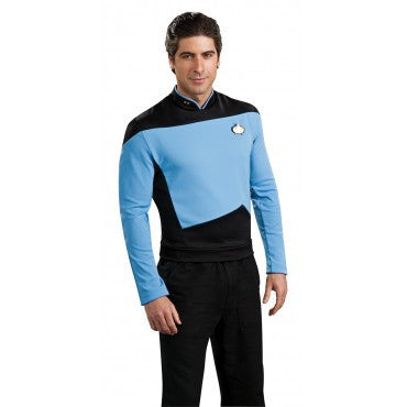 Mens Star Trek Deluxe Blue Shirt Command Uniform - HalloweenCostumes4U.com - Adult Costumes