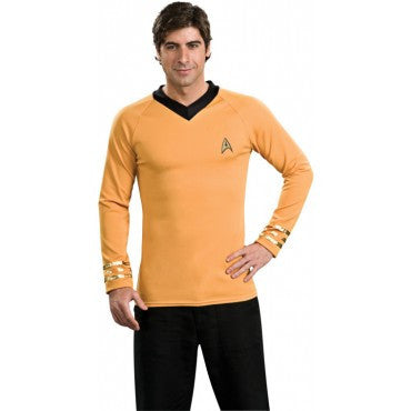 Mens Star Trek Deluxe Gold Shirt Captain Kirk Costume - HalloweenCostumes4U.com - Adult Costumes