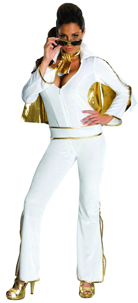 Womens/Teens White Elvis Jumpsuit Costume - HalloweenCostumes4U.com - Adult Costumes