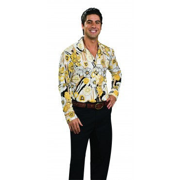 Mens Groovy Yellow Print Shirt - HalloweenCostumes4U.com - Adult Costumes