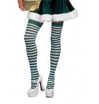 Green and White Striped Thigh Highs - HalloweenCostumes4U.com - Accessories