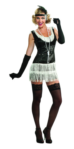Womens Black Sequin Flapper Costume - HalloweenCostumes4U.com - Adult Costumes