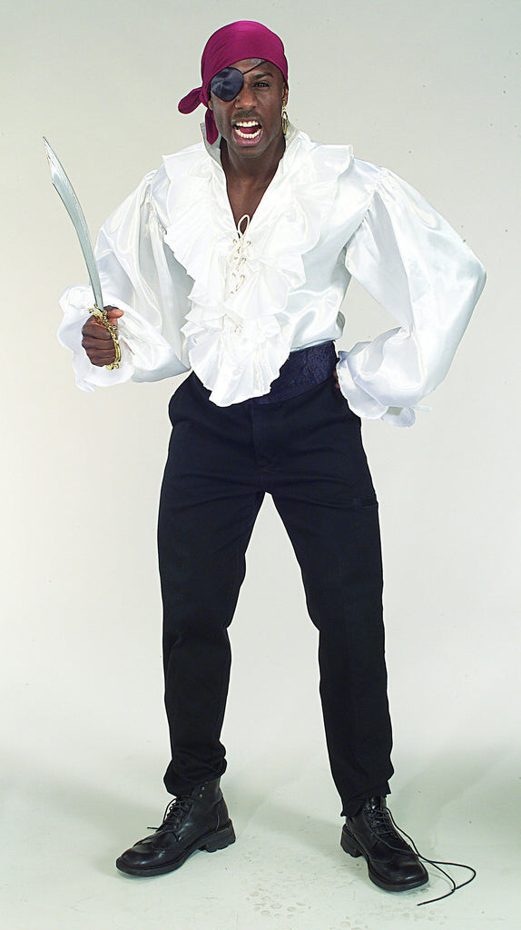 White Mens Pirate Shirt - HalloweenCostumes4U.com - Adult Costumes