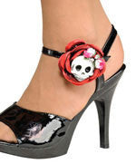 Skull and Rose Shoe Clips - HalloweenCostumes4U.com - Accessories