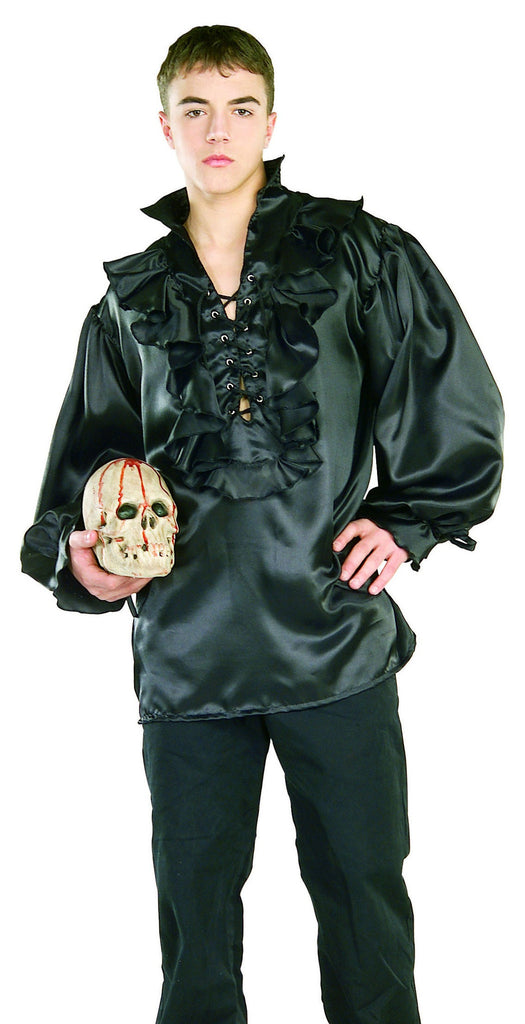 Black Mens Pirate Shirt - HalloweenCostumes4U.com - Adult Costumes
