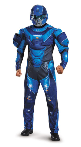Mens Halo Deluxe Blue Spartan Costume - HalloweenCostumes4U.com - Adult Costumes - 1