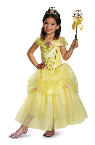 Girls Disney Princess Deluxe Belle Costume - HalloweenCostumes4U.com - Kids Costumes