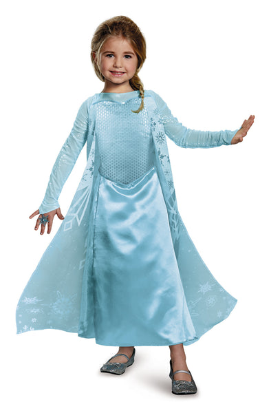 Girls Disney Princess Deluxe Sparkle Elsa Costume - HalloweenCostumes4U.com - Kids Costumes - 1