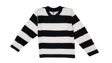 Mens Black & White Striped T-Shirt Costume