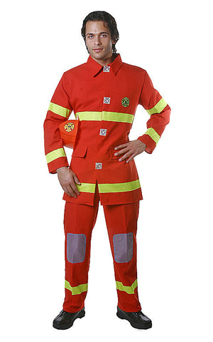 Mens Red Fire Fighter Costume - HalloweenCostumes4U.com - Adult Costumes