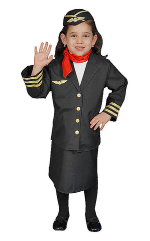 Girls Flight Attendant Costume - HalloweenCostumes4U.com - Kids Costumes
