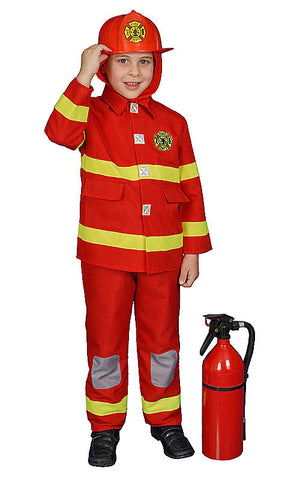 Boys Red Fire Fighter Costume - HalloweenCostumes4U.com - Kids Costumes