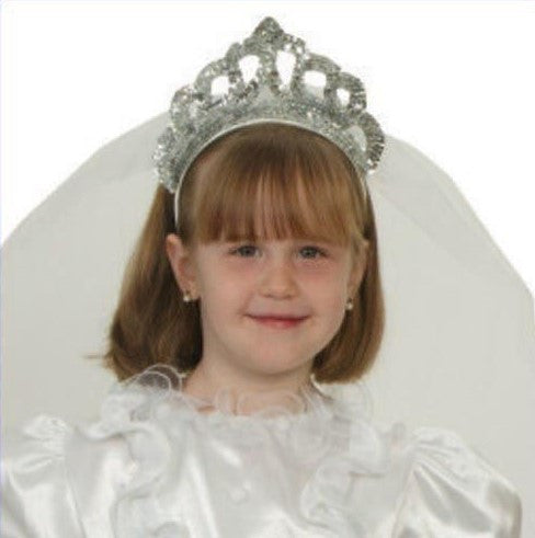 Girls Silver Bridal Tiara with Veil - HalloweenCostumes4U.com - Accessories