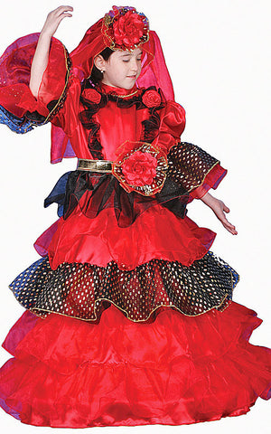 Girls Spanish Dancer Costume - HalloweenCostumes4U.com - Kids Costumes