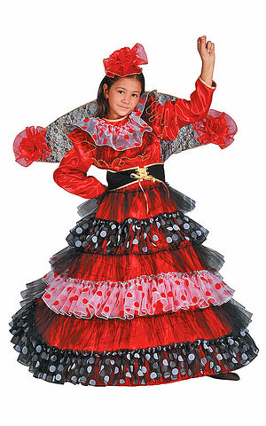 Girls Flamenco Dancer Costume - HalloweenCostumes4U.com - Kids Costumes
