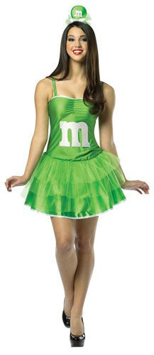 Womens Green M&Ms Party Dress - HalloweenCostumes4U.com - Adult Costumes