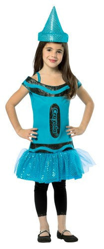 Kids Steel Blue Glitz & Glitter Crayon Crayon Dress - HalloweenCostumes4U.com - Kids Costumes