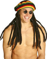 Jamaican Rasta Tam Hat with Dreadlocks - HalloweenCostumes4U.com - Accessories