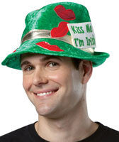 Green Kiss Me I'm Irish Fedora - HalloweenCostumes4U.com - Accessories